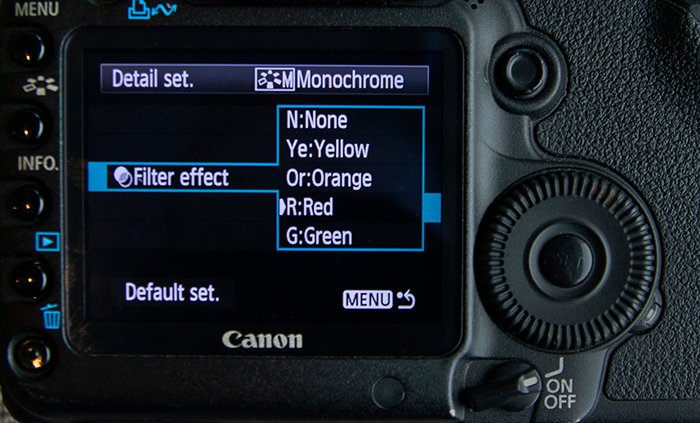 close up of a red filter selected in the Monochrome in-camera settings on a Canon 5D Mark II. - camera settings screen
