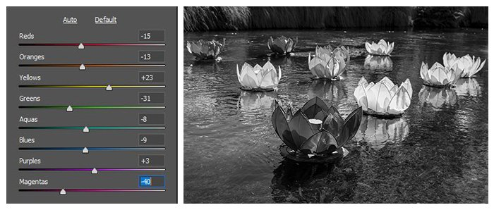 photo of floating flower lanterns converted to black and white, the colour hues being adjusted digitally to bring out detail and different tones in the image