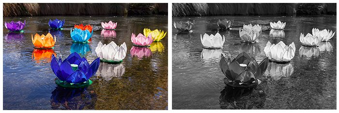 two photos. left: colourful flower lanterns floating on the surface of a late. Right: the same photo converted to black and white