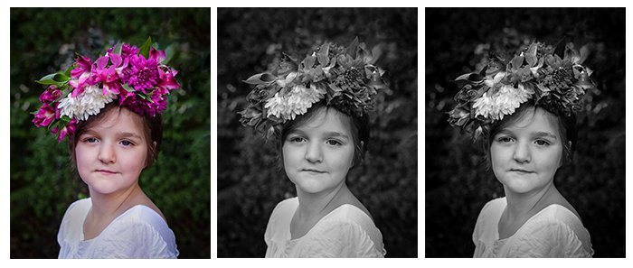 three photos for comparison. On the left a photo of a girl in a white dress and a pink flower crown on her head. Middle and right, the photos edited to black and white photos