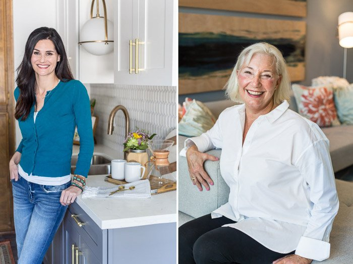 A diptych photo of a dark haired woman posing in a kitchen and a grey haired smiling woman - camera settings for portraits