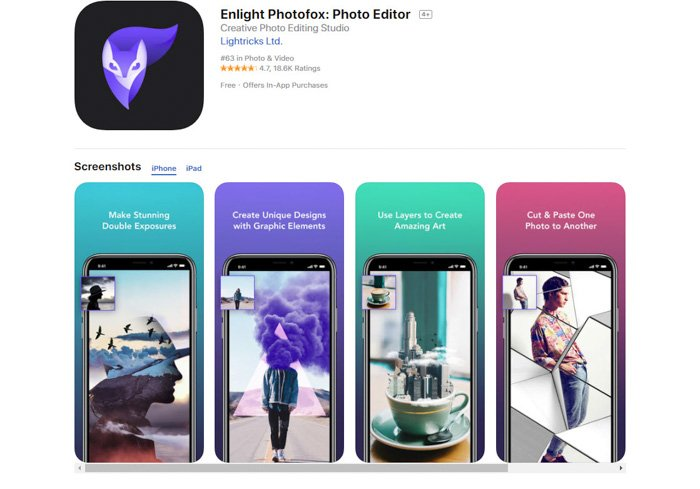 A screenshot of Enlight Photofox editing app to convert pictures to drawings