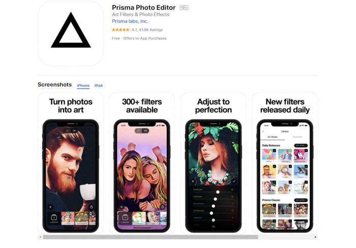 A screenshot of the Prisma photo editor iphone apps to convert picture to drawing