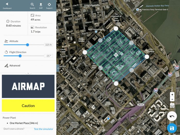 Screenshot of Airmap - best drone photography apps