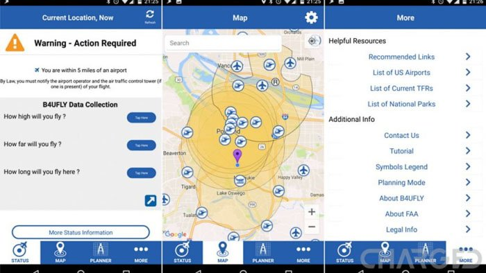 A screenshot of one of the best drone apps B4UFly interface