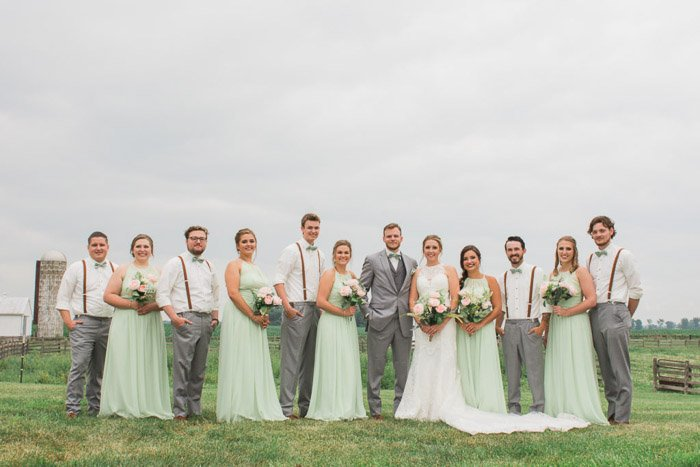 A large wedding party pose outdoors - camera focus for sharp group photography