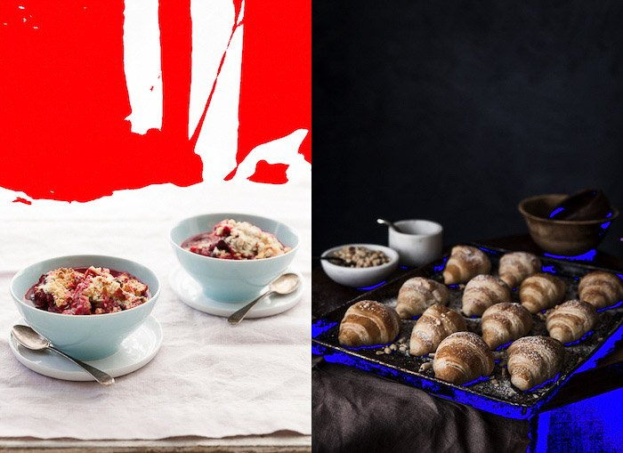 a food photography diptych using the camera histogram