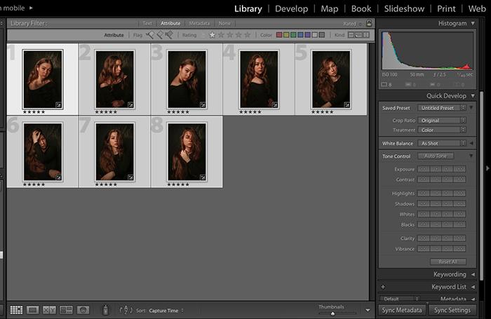 屏幕截图显示如何立即将Lightroom预设应用于许多图像