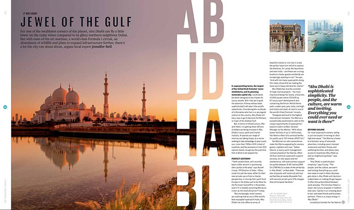 magazine spread with a photo of a grand white mosque in the pastel sunset, letters stylishly masked into the side of the photo