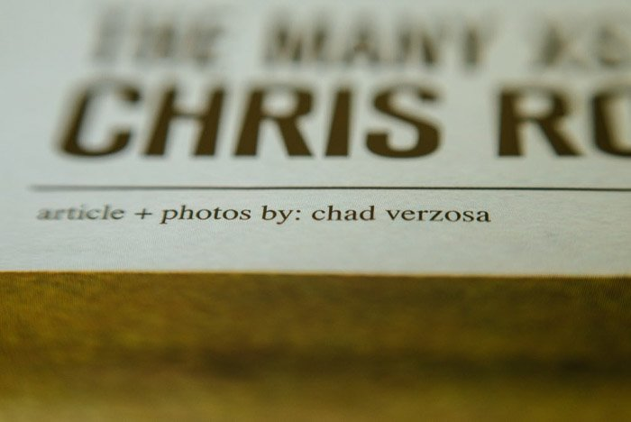 A close up of anarticle crediting the magazine photographer