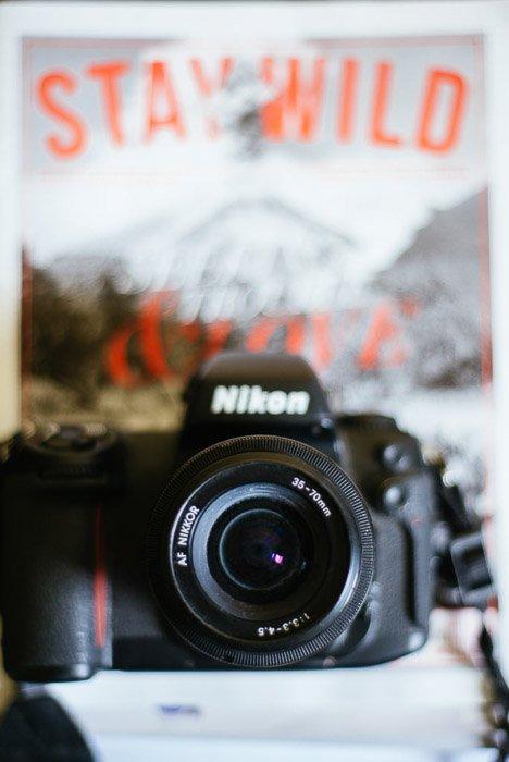 Blurred photo of a Nikon DSLR