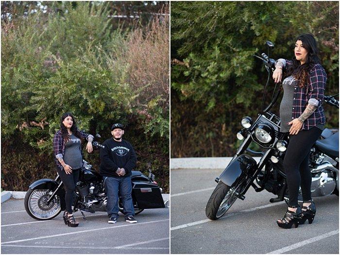 couple romantic maternity photoshoot outdoors, with motorbike