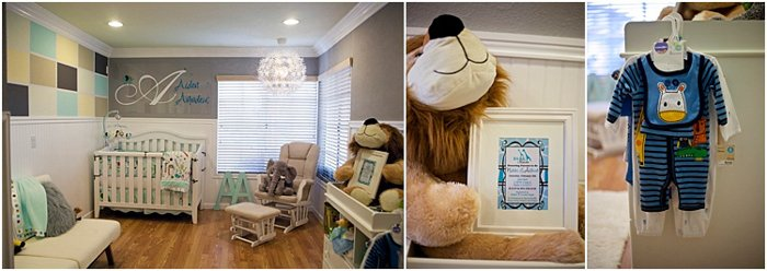 three photos showing nursery, nursery decor, baby onesie