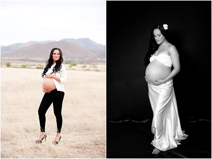 pregnant woman, photoshoot, two photos. Woman in white blouse outdoors, black and white photo with woman in white dress