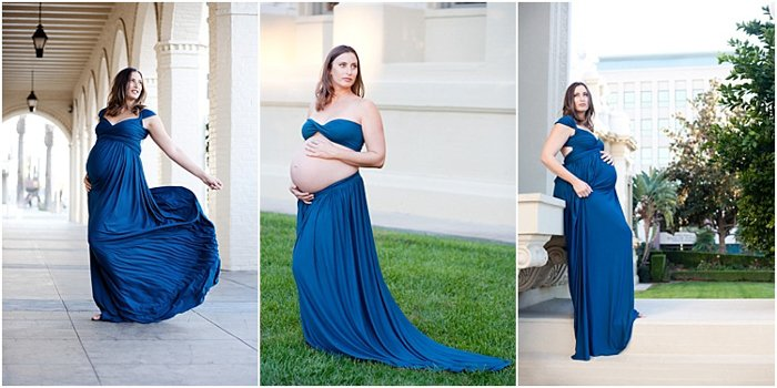 maternity photoshoot outdoors, pregnant woman in royal blue wrap dress