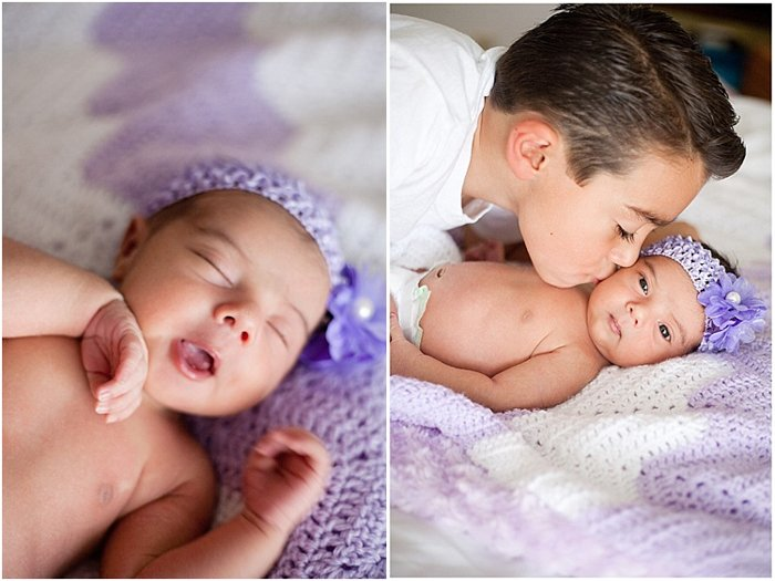 two photos during a newborn photography shoot. on the left, headshot of sleepy baby in a purple headband. on the right, close up of brother giving baby a kiss on the cheek