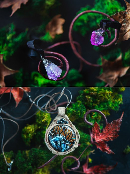 close up of nature inspired pendants, green moss and leaves in the background