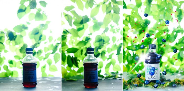 Three photos showing comparison from raw shot to final edit. Bottle of blueberry juice, edited to have blueberries dramatically falling around the bottle. product photo background