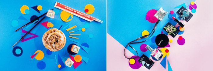two photos on paper background: bright blue, pink, purple, yellow geometric shapes. left: cupcake, sushi and chopsticks. right: make up, lipstick, perfume bottle