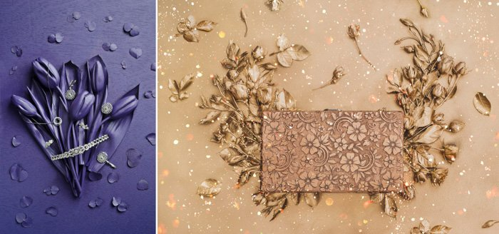 left: bunch of flowers and petals, all sprayed with violet paint, including background. right: floral textured rectangular elements, small flowers and petals around it, sprayed with golden brown paint.