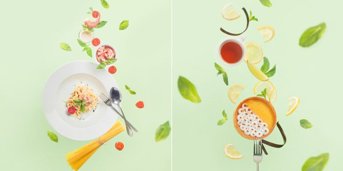 two photos: bright light green background, flatlay of brightly coloured herbs and spices, plate, spoon, fork