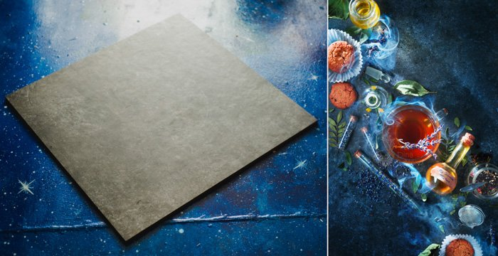 left: grey flat background material on blue background. right: tea, herbs, leaves and a stoppered vial on a dark blue background.