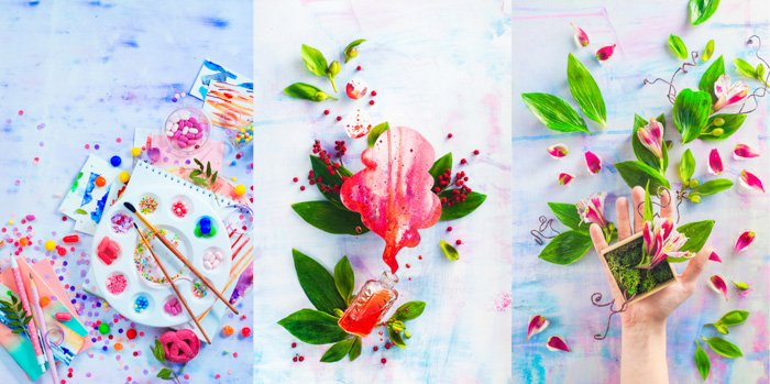 Left: Pink macarons in an artist workplace colorful flat lay with sweets, candies and sprinkles. Painting a dessert with a watercolor pallet filled with hard candies. Middle: large pink petal, paint spilling out of small glass bottle, framed by green leaves on a white paint stained background. Right: Hand holding a small wood box containing a small plant with bright pink flowers; bright pink petals and green leaves scattered on pink and blue paint stained wood background