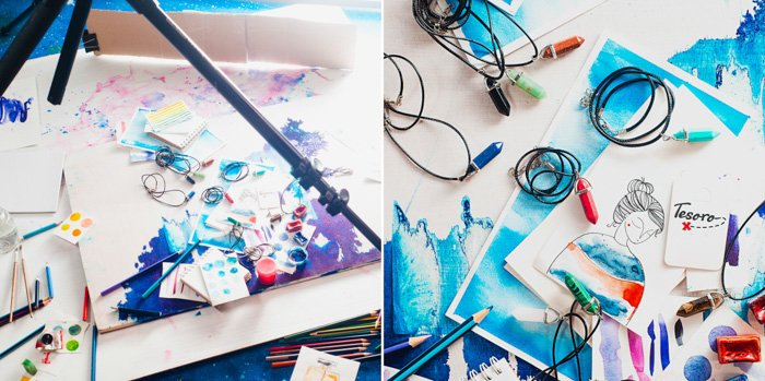 two photos. flatlay of watercolour paintings, blue elements, paints, brushes, on a white background