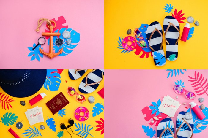 collage of four photos. bright yellow and bubblegum pink backgrounds. flatlay of fashion items: flip flops, anchor, sunglasses