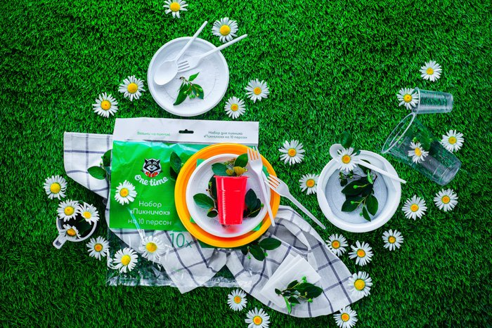 flatlay styled picnic themed photo. paper plates and utensils on deep green grass, daisies scattered around, product photo background