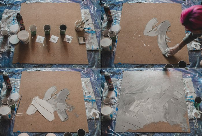 steps in preparation of wooden board to be grey background for flatlay photos