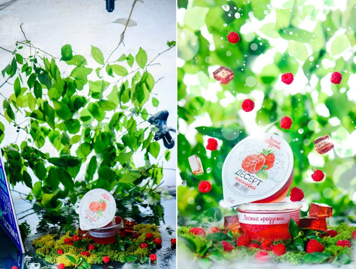 raspberry jelly packets, photo edited with raspberries falling around the container, green leaves in the background