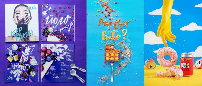 several stylized posters. flatlay design with solid background colours in violet, bright blue, yellow. summer theme. Fun lettering and food elements