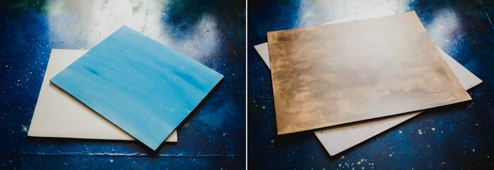 light blue and brown hardwood surfaces for flatlay backgrounds