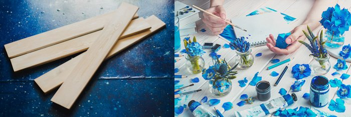 two photos. left: thin wood planks on a dark blue background. right: sky blue flowers and leaves arranged on a white wood background, hands holding a paintbrush, pots of blue paint