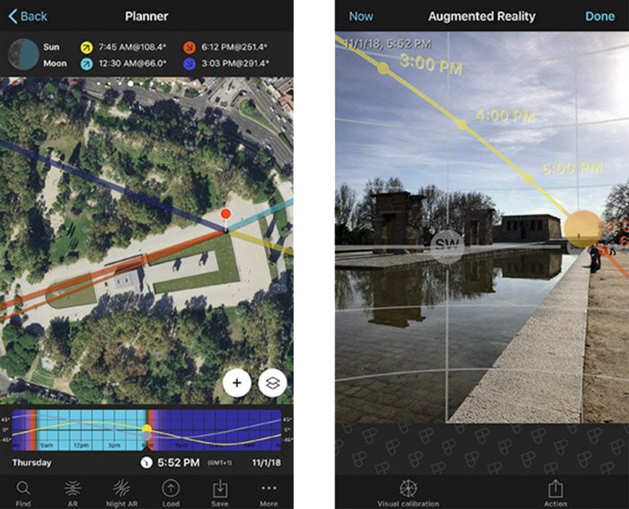 A screenshot of augmented reality interface in the photopills app