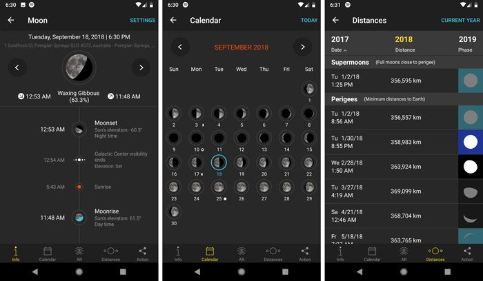 A screenshot of the moon pills interface in the photopills app