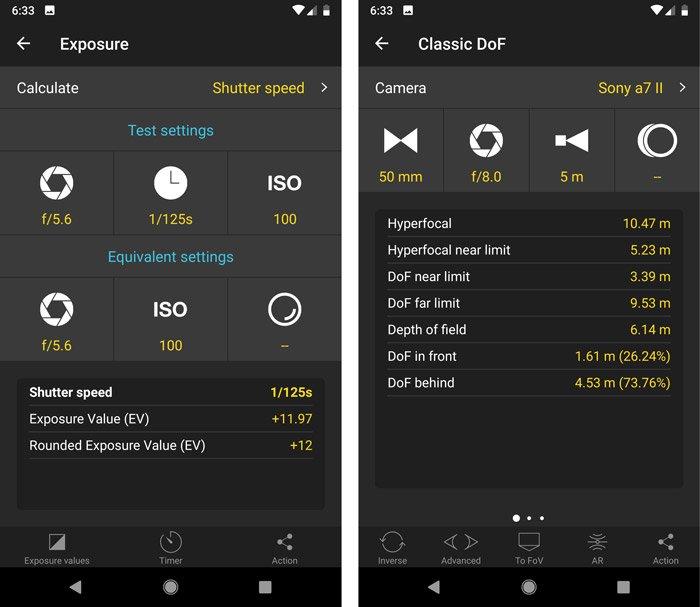 A screenshot of theexposure pill interface in the photopills app