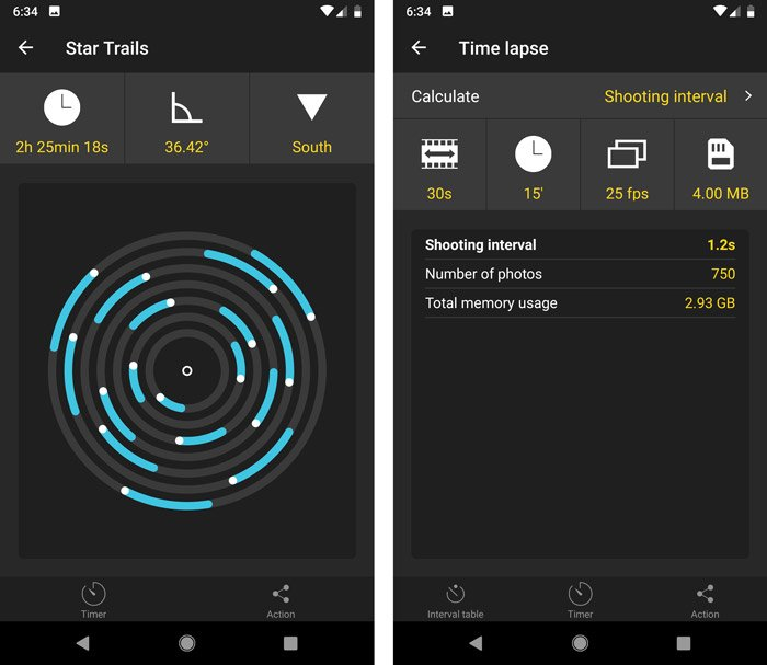 A screenshot of the star trails and rime lapse pills interface in the photopills app