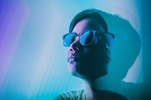 Portrait photo of a guy with prism effect