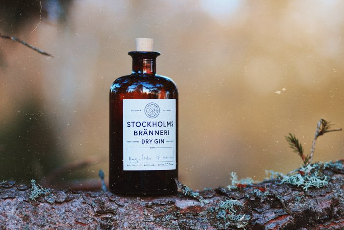 vintage corked bottle of dry gin, standing on a log outdoors