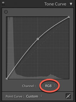 screenshot of adjusting the tone curve of an image on Lightroom for product photography editing