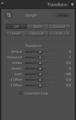 screenshot of using the transform function on Lightroom