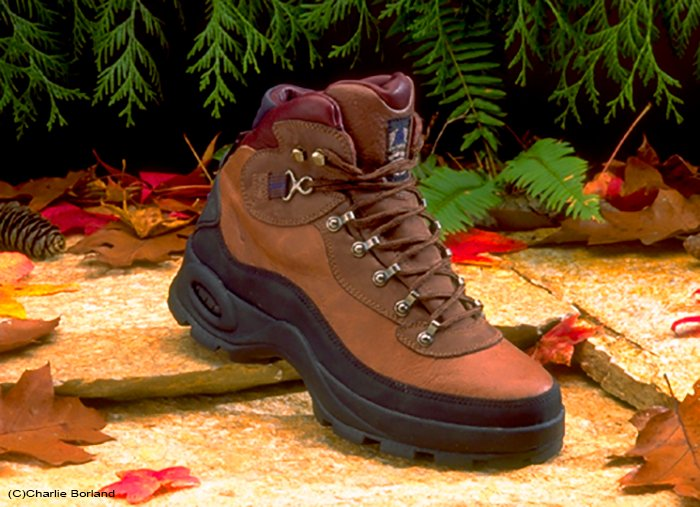A product photography photoshoot of a hiking shoe against a natural background