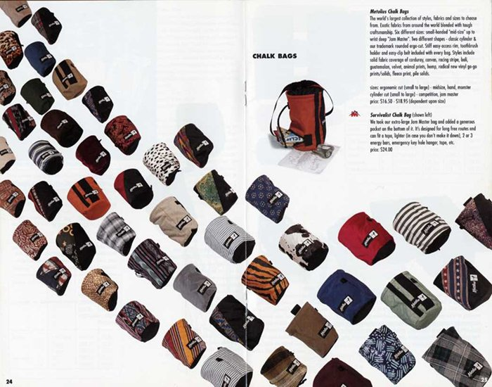 An magazine advertisement for chalk bags