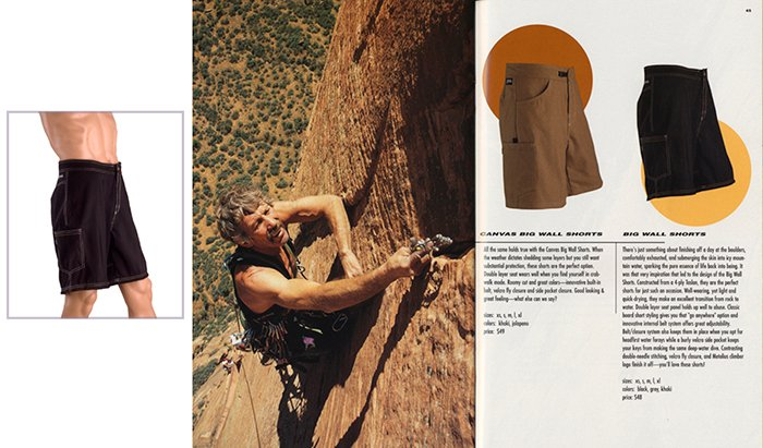 An advertisement for mens shorts featuring a photo of a rockclimber