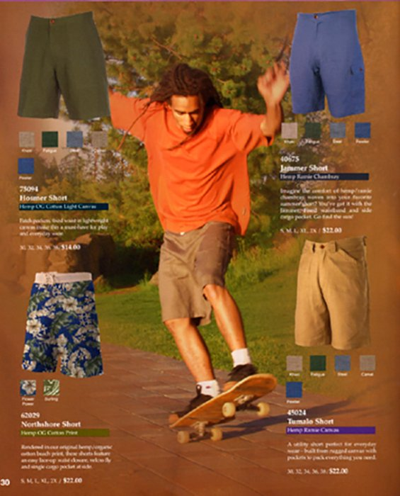 An advertisement for mens shorts featuring a photo of a skateboarder