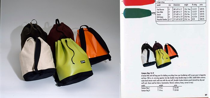 a product photography shot of coloured duffel bag