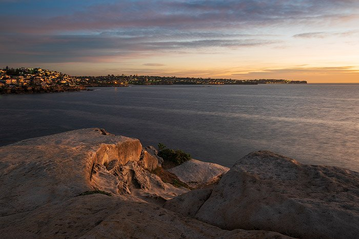 A beautiful serene coastal seascape shot in natural light before sunrise