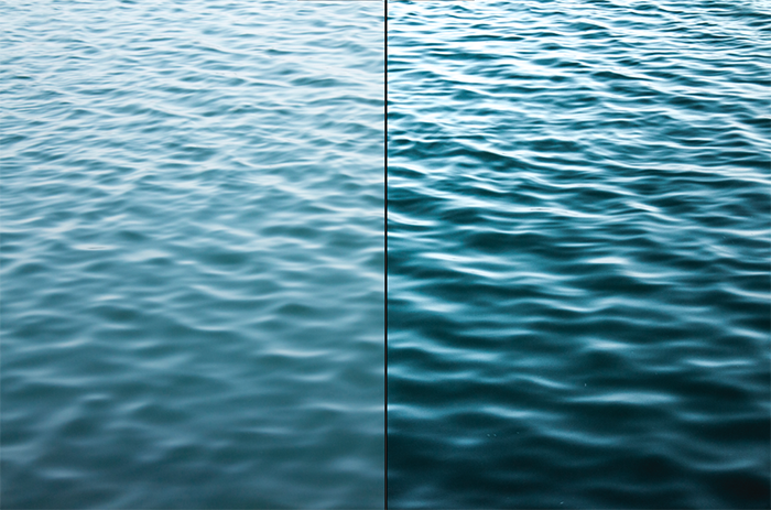 Diptych texture photography of ripples in the ocean